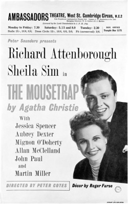 An original flier for The Mousetrap, topically enough starring a young Richard Attenborough.